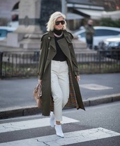 coat,trench coat,burberry,green coat,white boots,ankle boots,white pants,cargo pants,black turtleneck top