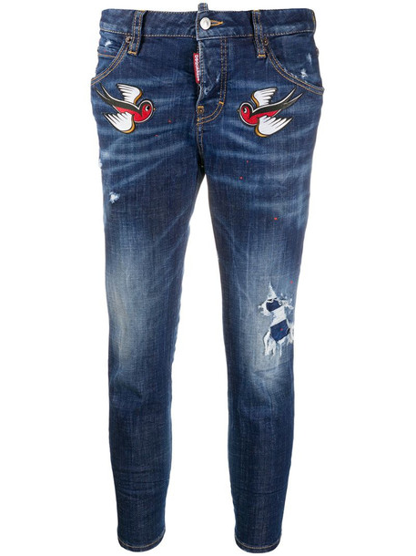 Dsquared2 bird embroidery cropped jeans in blue