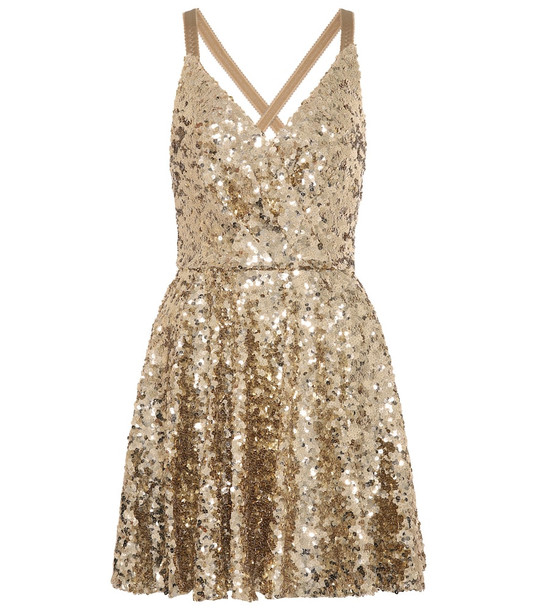 Dolce & Gabbana Sequined minidress in gold