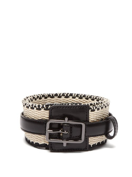 Etro - Woven Cotton And Leather Belt - Womens - Black