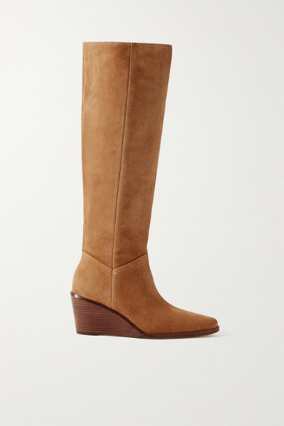 Vince - Marlow Suede Wedge Knee Boots - Light brown