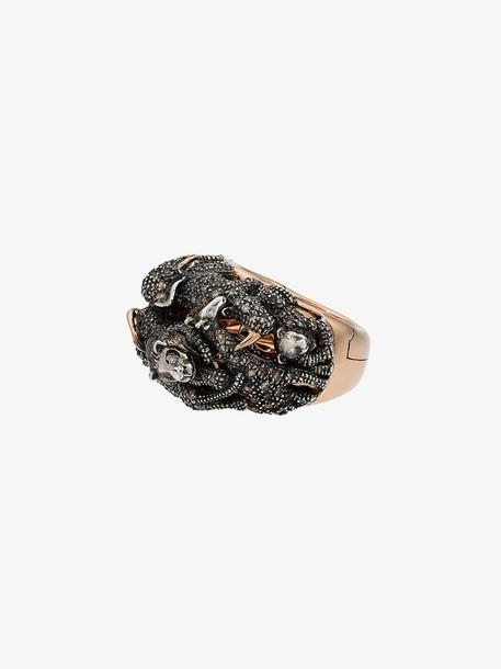 Bibi Van Der Velden 18k Rose Gold Diamond panther double ring