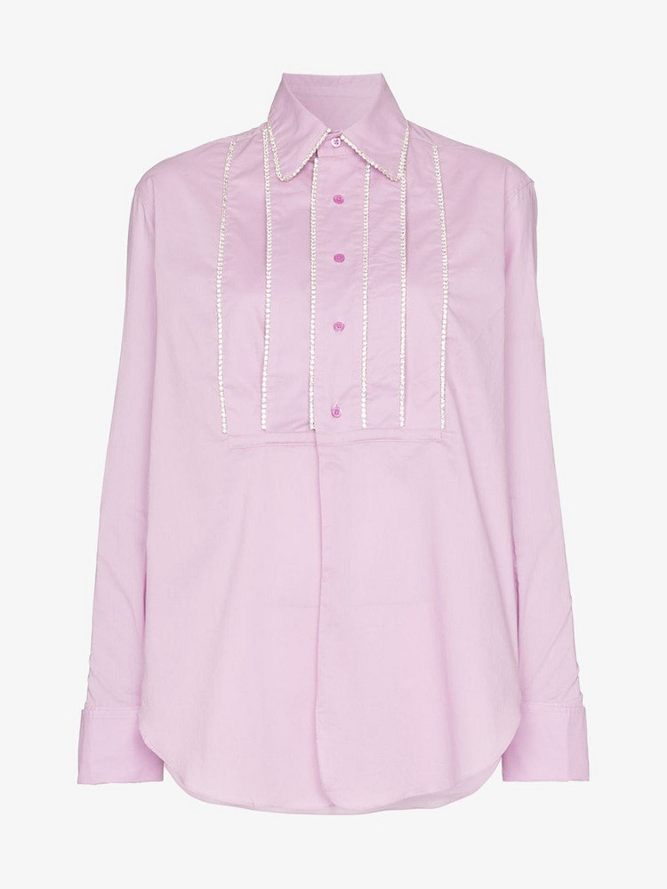 AREA embellished tucks tailored shirt in pink