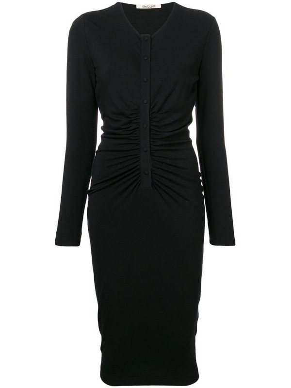 Roberto Cavalli fitted midi dress in black