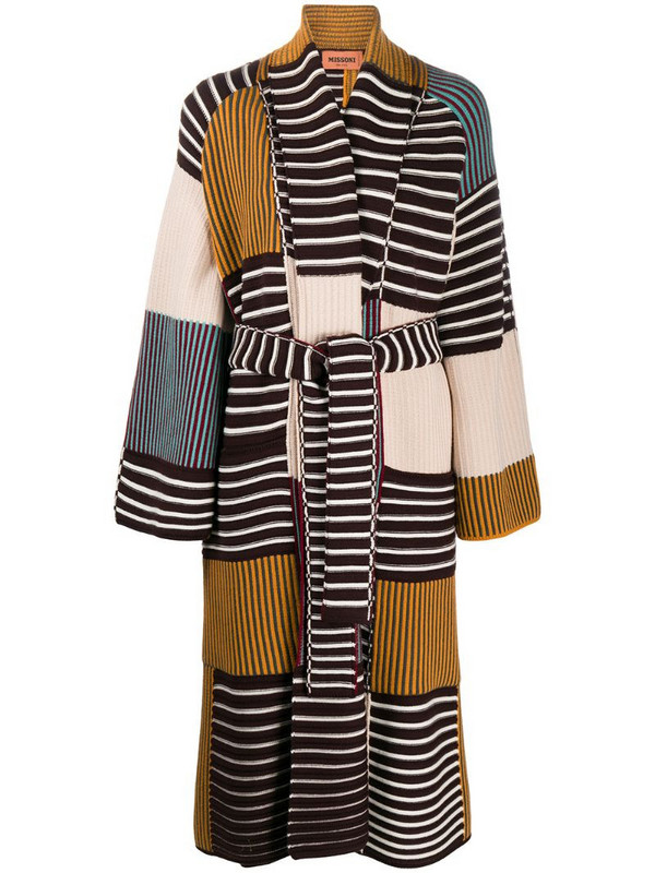 Missoni panelled ribbed knit cardigan-coat in brown