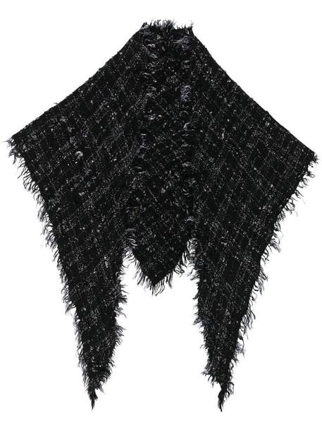 Faliero Sarti check knit scarf in black
