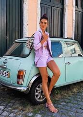 shorts,lilac,blogger,blazer,top,crop tops,instagram,camila coelho