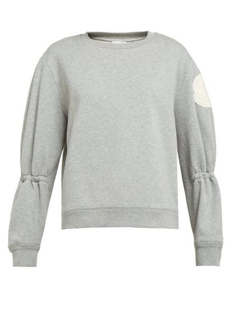 Moncler - Logo Appliqué Loopback Cotton Sweatshirt - Womens - Light Grey