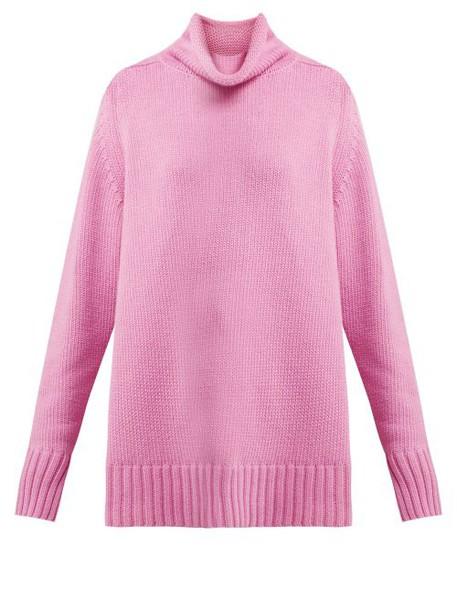 Joseph - Sloppy Joe Roll Neck Cotton Blend Sweater - Womens - Light Pink