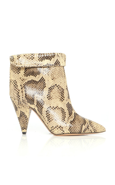 Isabel Marant Lisbo Embossed Calfskin Boots in neutral
