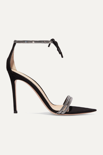 Gianvito Rossi - Camnero 105 Crystal-embellished Suede Sandals - Black