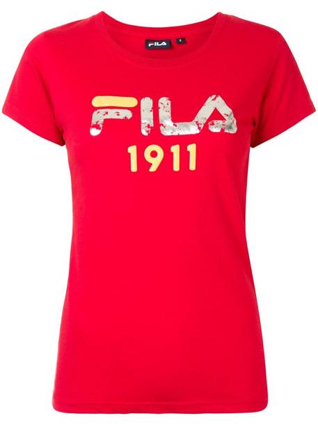 Fila logo print T-shirt in red