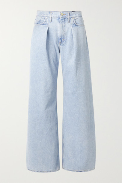 Goldsign - Pleated High-rise Wide-leg Jeans - Blue