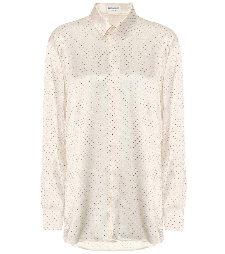 Saint Laurent Embellished silk-satin shirt in white