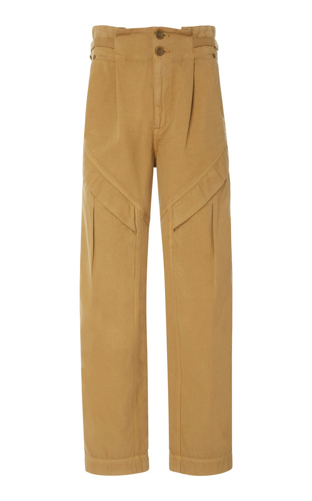 Jean Atelier Gemma Ruffled Cotton Straight-Leg Pant in brown