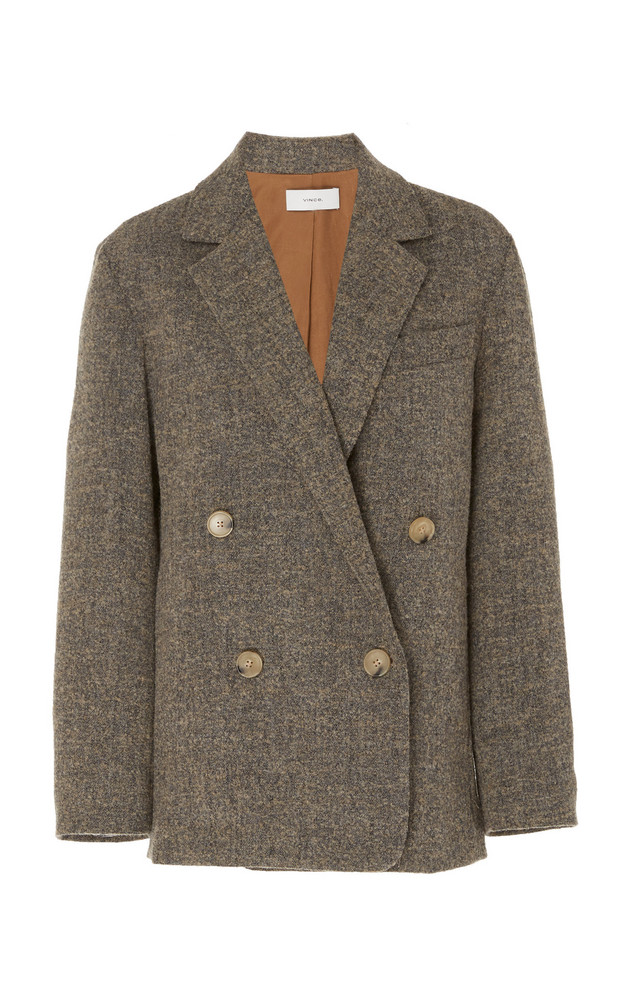 Vince Textured Wool-Knit Jacket in grey