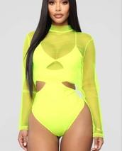 swimwear,bodysuit,neon,mesh bodysuit,long sleeves