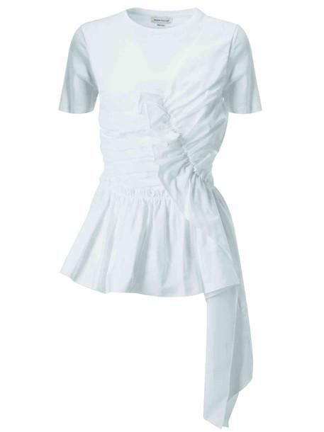 Alexander McQueen Asymmetric Cotton Dress in white