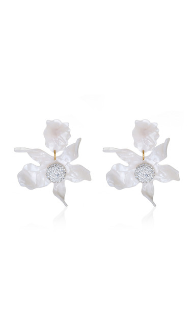 Lele Sadoughi Lily Crystal-Embellished 14k Gold-Plated Acetate Earring in white