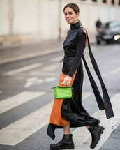 bag,loewe bag,green bag,ankle boots,black boots,maxi dress,black dress,turtleneck dress