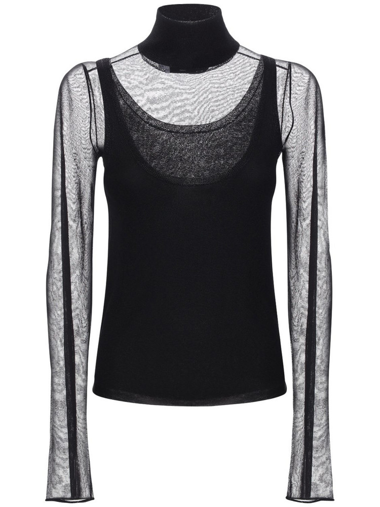 PROENZA SCHOULER WHITE LABEL Knit Neck Layered Mesh Top in black