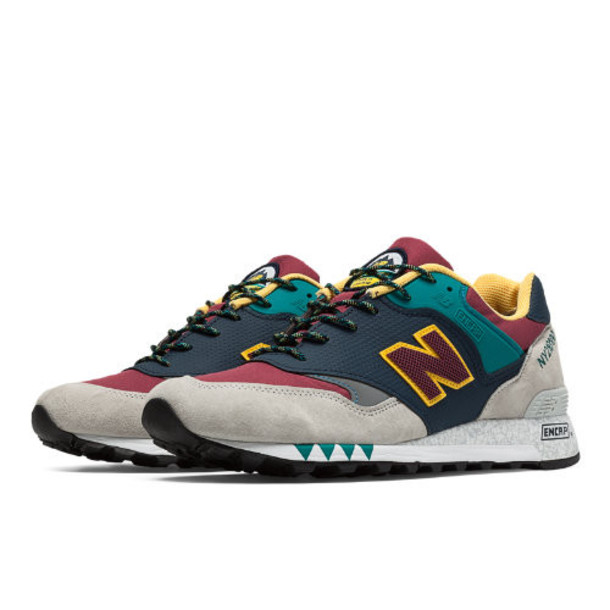 New Balance 577 Made in UK Napes Men's Running Classics Shoes - Light Grey, Black, Yellow (M577NGB)