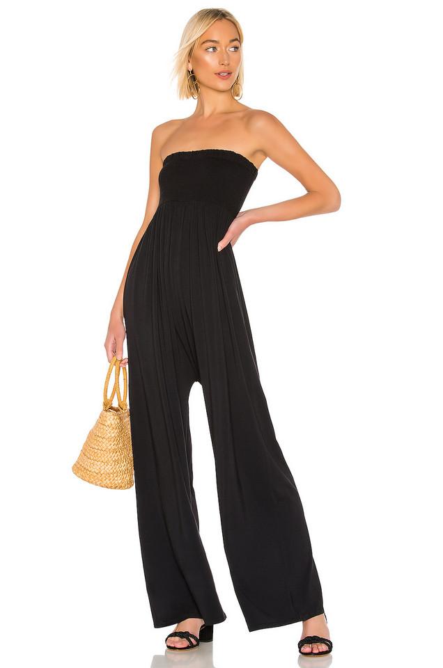 Bobi Draped Modal Jersey Jumpsuit in black