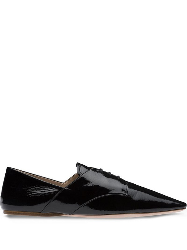 Miu Miu pointed-toe lace-up shoes in black