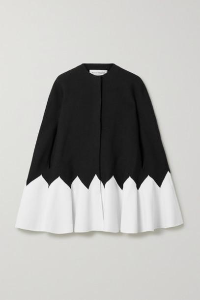 Alexander McQueen - Two-tone Wool-blend Cape - Black