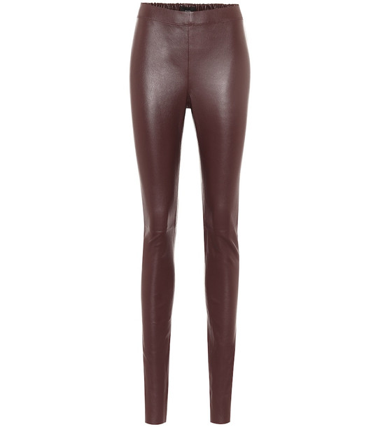 Joseph Mid-rise leather leggings in red