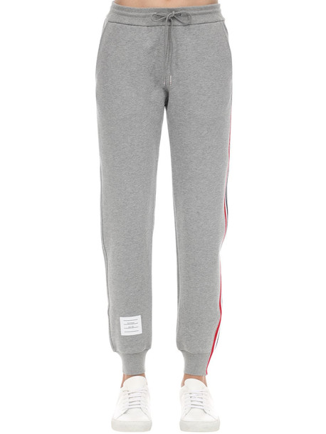 THOM BROWNE Cotton Sweatpants W/ Logo Stripes in grey