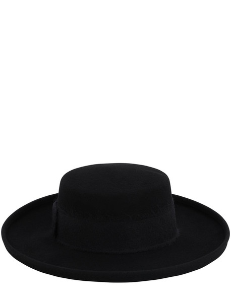 EUGENIA KIM Julian Wool Felt Boater Hat in black