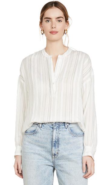 Vince Drapey Stripe Pullover in white