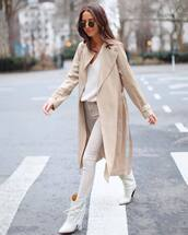 shoes,white boots,isabel marant,white jeans,skinny jeans,high waisted jeans,trench coat,white sweater