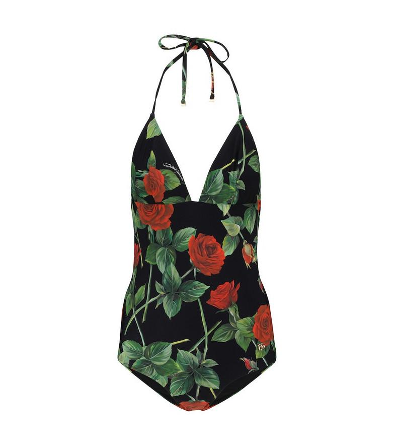 Dolce & Gabbana Floral halterneck swimsuit