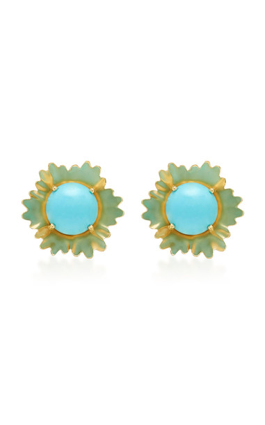 Irene Neuwirth 18K Gold And Turquoise Stud Earrings
