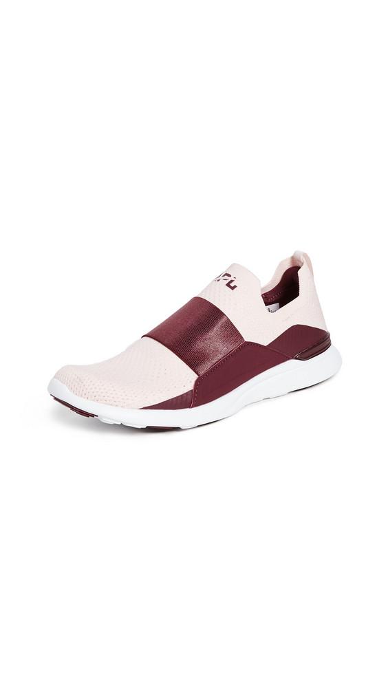 APL: Athletic Propulsion Labs TechLoom Bliss Sneakers in tan / burgundy / white