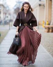 dress,maxi dress,pleated skirt,dior bag,brown coat,pumps