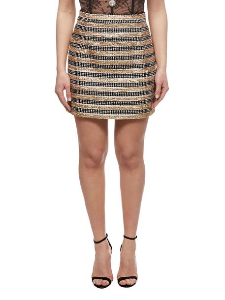 Alessandra Rich Striped Tweed Mini Skirt in nero