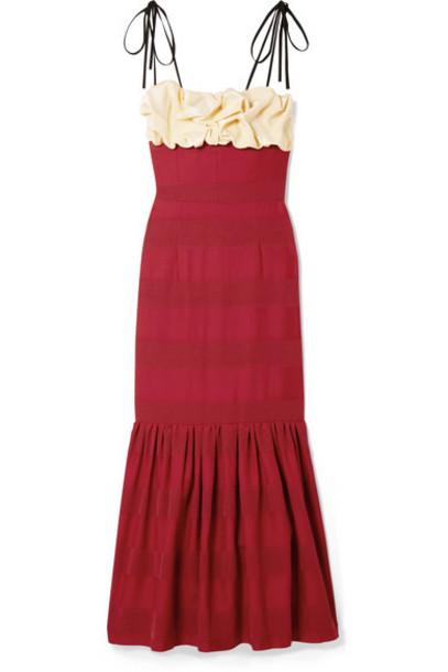 Hellessy - Rosie Ruffled Paneled Satin Midi Dress - Crimson
