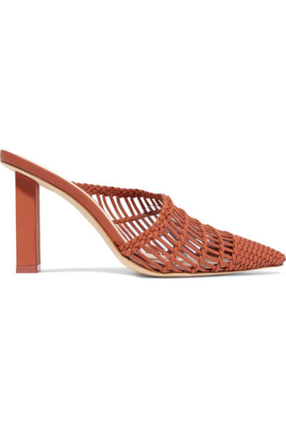 Cult Gaia - Raya Woven Leather Mules - Brown