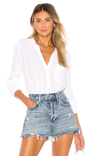 1. STATE Henley Double Gauze Top in White