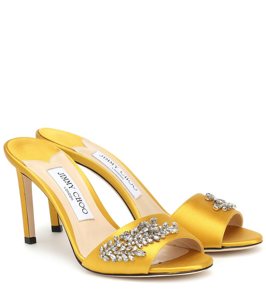 Jimmy Choo Stacey 85 embellished satin sandals in yellow