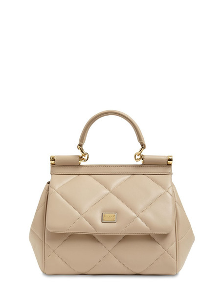 DOLCE & GABBANA Small Sicily Matelasse Leather Bag in beige