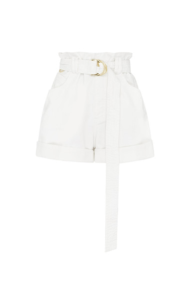Aje Salt Lake Belted Denim Shorts Size: 4 in white