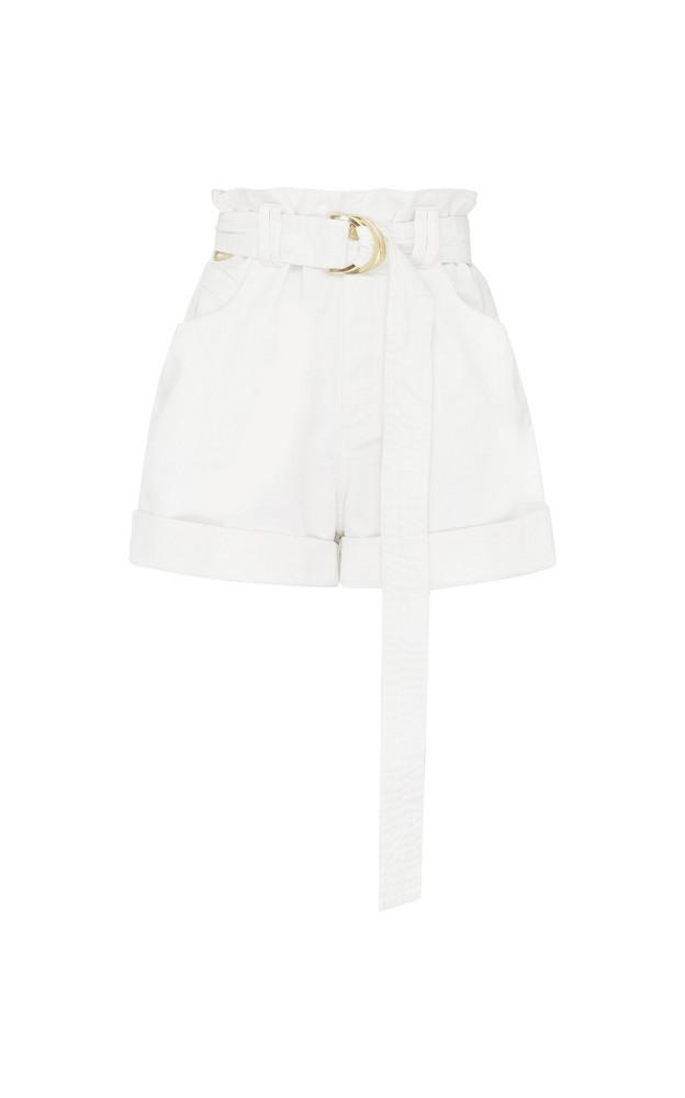 Aje Salt Lake Belted Denim Shorts Size: 4 in white