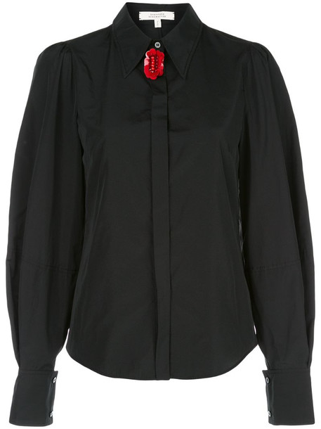 Dorothee Schumacher floral detail oversized sleeve shirt in black