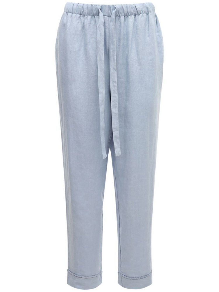 UNDERPROTECTION Caroline Organic Linen Pajama Pants in blue