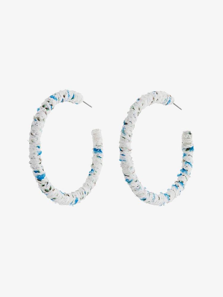 Dannijo Nina Hoop Fabric Earrings in blue