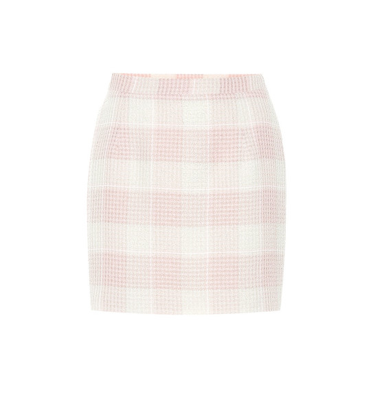 Alessandra Rich Checked tweed miniskirt in pink